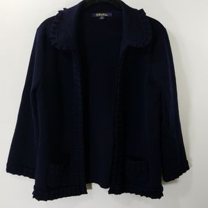 Brooks Brothers Navy Wool Open Front Cardigan M